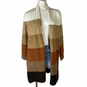 VERVE AMI   STRIPED DUSTER LENGTH OPEN CARDIGAN C